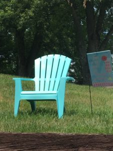 a quiet spot and a garden flag for color