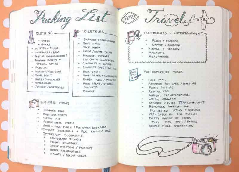 packing list for bullet journal