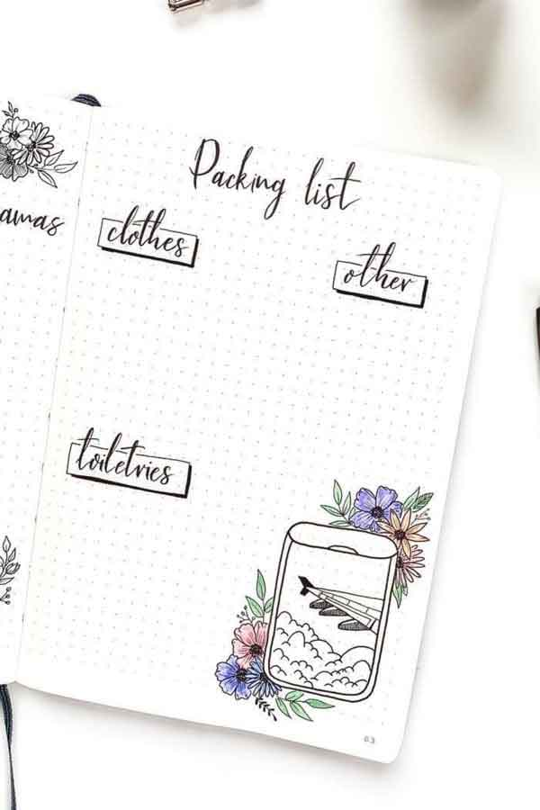 airplane bullet journal packing list