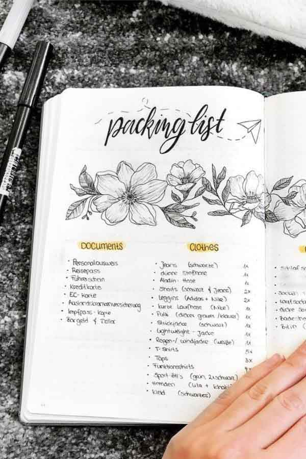 flower vacation packing list