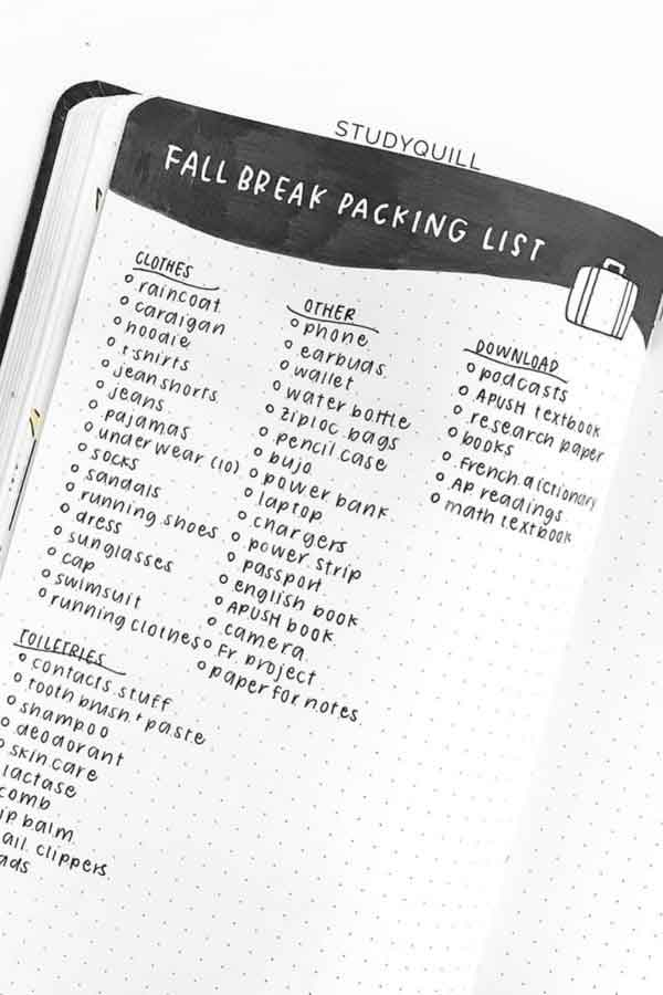 simple packing list