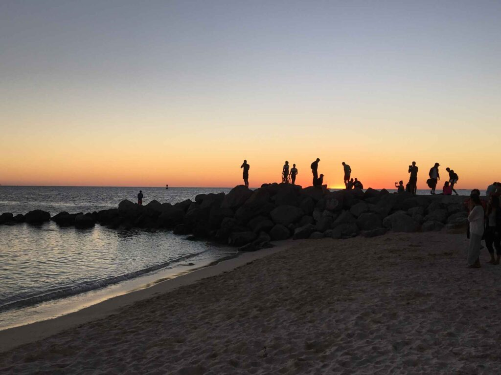 people enjoying sunset at Fort Zach park