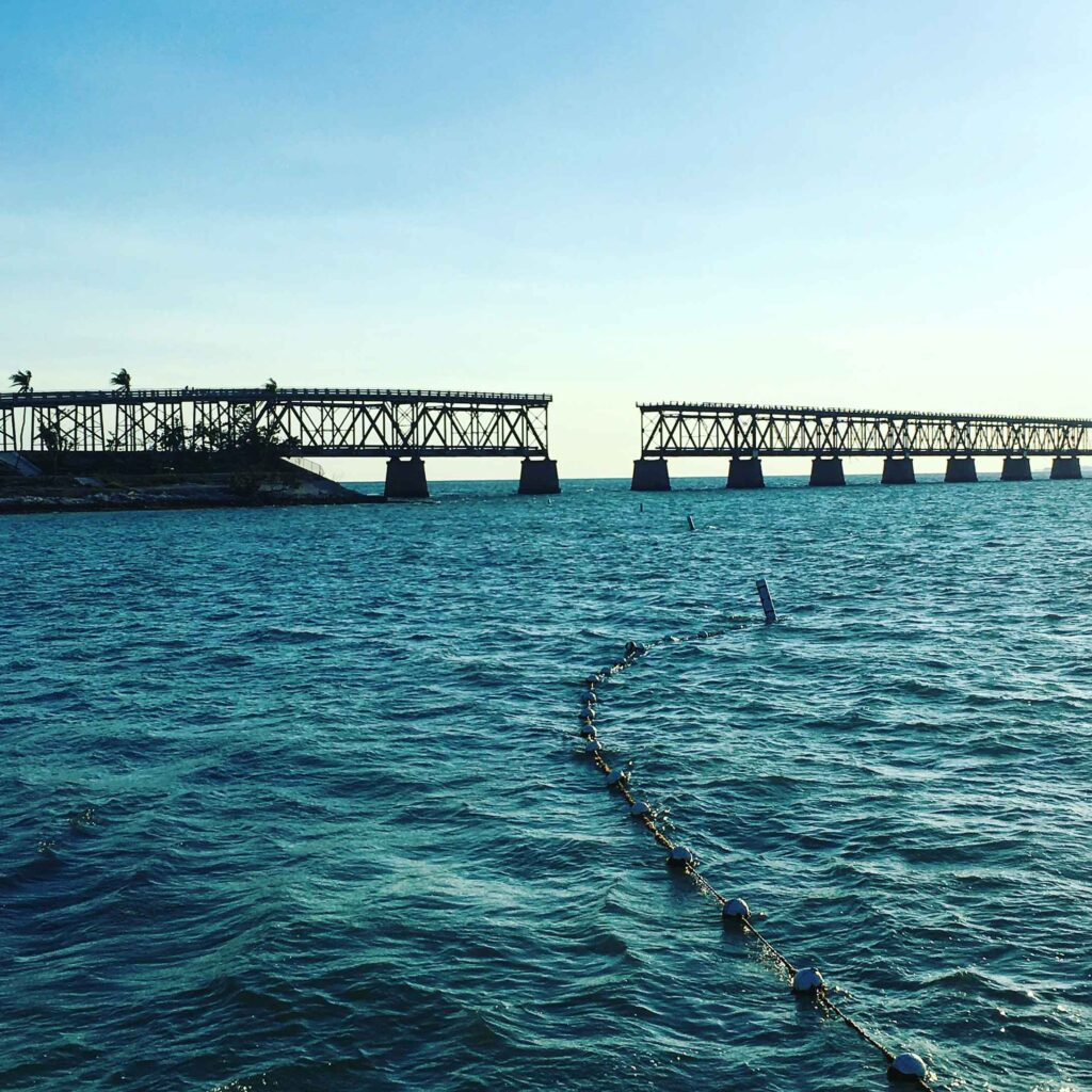 old bridge beach and ocean view at bahia honda state park