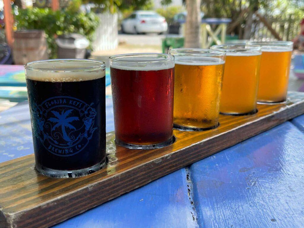 flight of beer at Florida Brewing Company